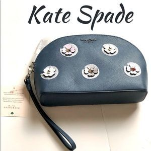 Kate Spade Leather Cameron Flower Cosmetic Case